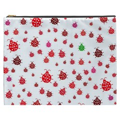 Beetle Animals Red Green Fly Cosmetic Bag (XXXL)