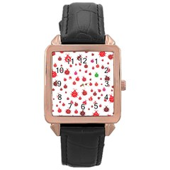 Beetle Animals Red Green Fly Rose Gold Leather Watch