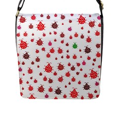 Beetle Animals Red Green Fly Flap Messenger Bag (l)