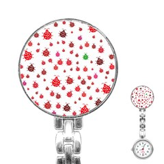 Beetle Animals Red Green Fly Stainless Steel Nurses Watch