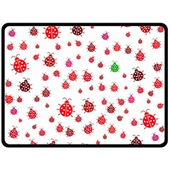 Beetle Animals Red Green Fly Double Sided Fleece Blanket (large)