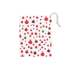 Beetle Animals Red Green Fly Drawstring Pouches (small)