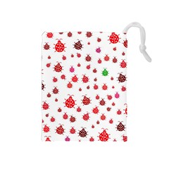 Beetle Animals Red Green Fly Drawstring Pouches (Medium)