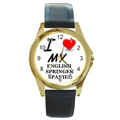 Eng Spr Sp Love Round Gold Metal Watch