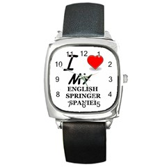 Eng Spr Sp Love Square Metal Watch