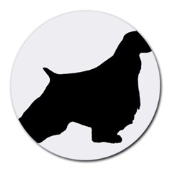English Springer Spaniel Silo Black Round Mousepads