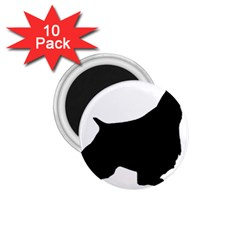 English Springer Spaniel Silo Black 1.75  Magnets (10 pack)