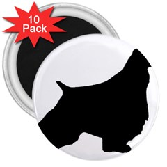 English Springer Spaniel Silo Black 3  Magnets (10 pack)