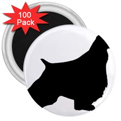 English Springer Spaniel Silo Black 3  Magnets (100 pack)