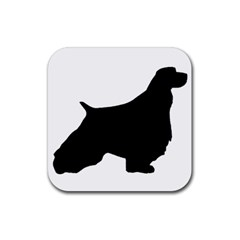 English Springer Spaniel Silo Black Rubber Square Coaster (4 pack)