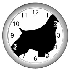 English Springer Spaniel Silo Black Wall Clocks (Silver)