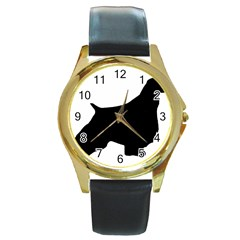 English Springer Spaniel Silo Black Round Gold Metal Watch