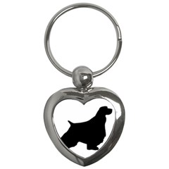 English Springer Spaniel Silo Black Key Chains (Heart)
