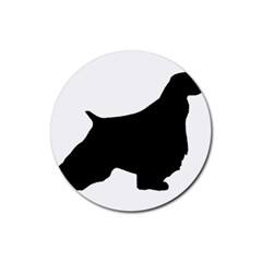 English Springer Spaniel Silo Black Rubber Coaster (Round)