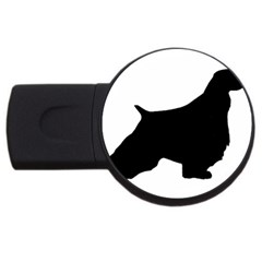 English Springer Spaniel Silo Black USB Flash Drive Round (2 GB)