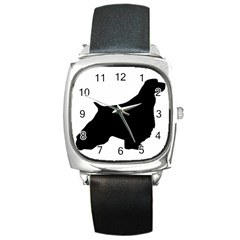 English Springer Spaniel Silo Black Square Metal Watch