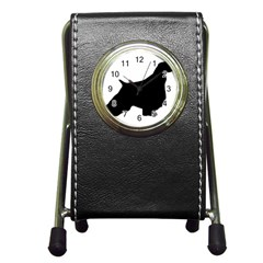 English Springer Spaniel Silo Black Pen Holder Desk Clocks