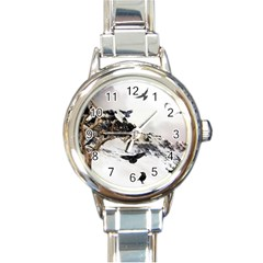 Birds Crows Black Ravens Wing Round Italian Charm Watch