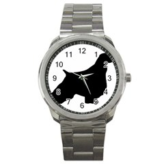 English Springer Spaniel Silo Black Sport Metal Watch