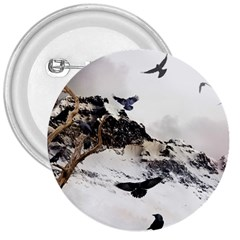 Birds Crows Black Ravens Wing 3  Buttons