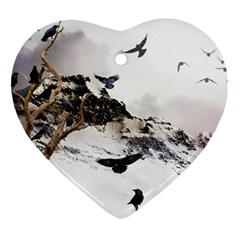 Birds Crows Black Ravens Wing Ornament (heart)
