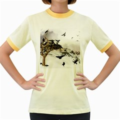 Birds Crows Black Ravens Wing Women s Fitted Ringer T-Shirts