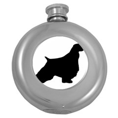 English Springer Spaniel Silo Black Round Hip Flask (5 oz)