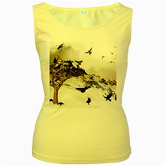 Birds Crows Black Ravens Wing Women s Yellow Tank Top
