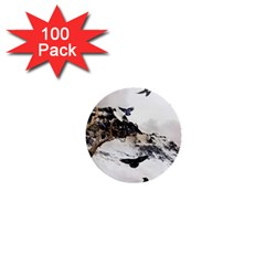Birds Crows Black Ravens Wing 1  Mini Buttons (100 Pack)