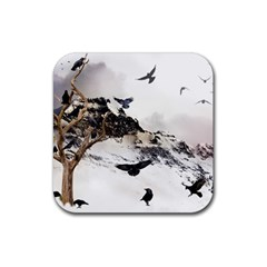 Birds Crows Black Ravens Wing Rubber Coaster (square)