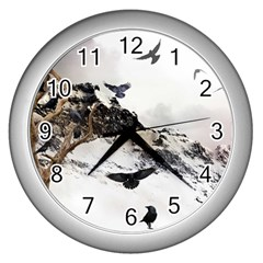 Birds Crows Black Ravens Wing Wall Clocks (Silver)