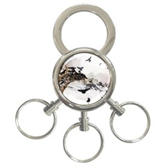 Birds Crows Black Ravens Wing 3 Ring Key Chains