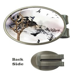Birds Crows Black Ravens Wing Money Clips (oval)