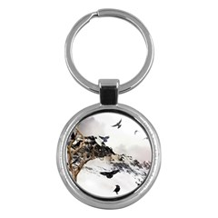 Birds Crows Black Ravens Wing Key Chains (round)