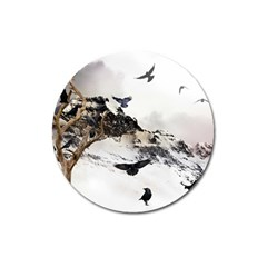 Birds Crows Black Ravens Wing Magnet 3  (round)