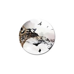 Birds Crows Black Ravens Wing Golf Ball Marker