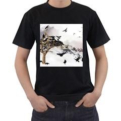 Birds Crows Black Ravens Wing Men s T-Shirt (Black) (Two Sided)