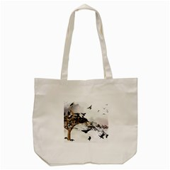 Birds Crows Black Ravens Wing Tote Bag (cream)