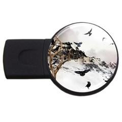 Birds Crows Black Ravens Wing USB Flash Drive Round (4 GB)