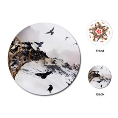Birds Crows Black Ravens Wing Playing Cards (round)