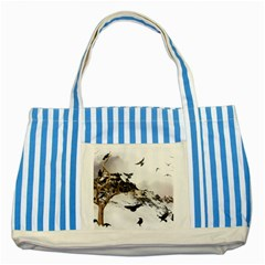 Birds Crows Black Ravens Wing Striped Blue Tote Bag