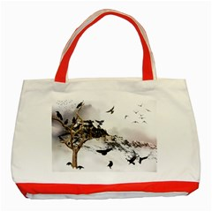 Birds Crows Black Ravens Wing Classic Tote Bag (Red)