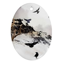 Birds Crows Black Ravens Wing Oval Ornament (two Sides)