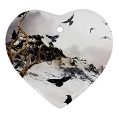 Birds Crows Black Ravens Wing Heart Ornament (Two Sides)