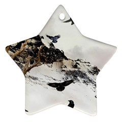 Birds Crows Black Ravens Wing Star Ornament (Two Sides)