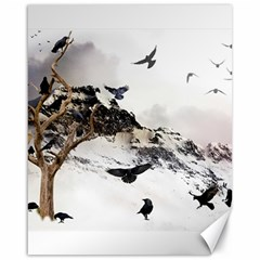 Birds Crows Black Ravens Wing Canvas 16  X 20