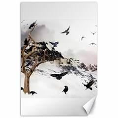 Birds Crows Black Ravens Wing Canvas 24  x 36