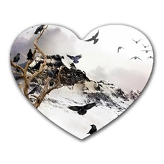 Birds Crows Black Ravens Wing Heart Mousepads