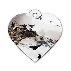 Birds Crows Black Ravens Wing Dog Tag Heart (two Sides)