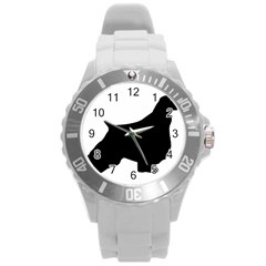 English Springer Spaniel Silo Black Round Plastic Sport Watch (L)
